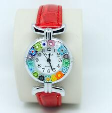 Reloj de Cuarzo de cristal de Murano de Venecia Con Millefiori y correa roja