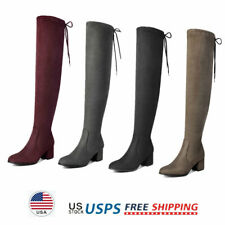 Womens Over The Knee Boots Lace up Thigh High Chunky 2.5inch High Heel Boots