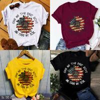 Summer Women's Sunflower Printed Short Sleeve Tops T-shirt Casual Blouse Tee