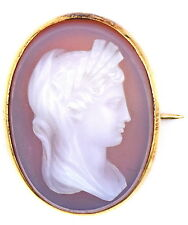 ANTIQUE VICTORIAN CARVED HARDSTONE 14K YELLOW GOLD MYTHOLOGY CAMEO PIN BROOCH