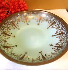 "Vintage Jadeite Compote Bowl Candy Dish Depression Milk Glass Green wGold Rim 9"""