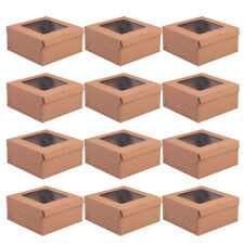 12 Kraft Brown Paper Cupcake/Muffin Box Wedding Party Favours 4/6/12Holder
