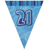Blue Glitz 21 Flag Banner 12 Ft String Flags 21st Birthday Party Decorations