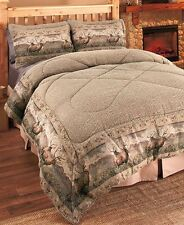 3-Pc Deer Wildlife Full/Queen Comforter Set Pillow Shams Rustic Bedroom Decor