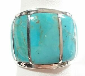 925 STERLING SILVER STURDY CIGAR BAND TURQUOISE SIZE 8 RING