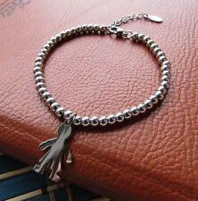 Bracciale da donna sfere con ciondolo bimbo in acciaio inox argento braccialetto