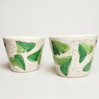 Italian pottery cache pots planters green ivy design 4.5 inches -- pair