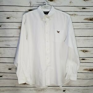 American Living Mens Shirt White Long Sleeve Large Button Down Pocket Cotton