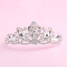 Transparente Cristal Tiara Wedding Bridal corazón ovel Diamante Corona Diadema peluquín