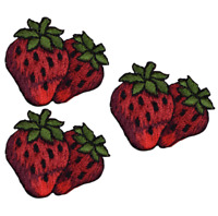 """Strawberry Applique Patch - Berry, Fruit, Food Badge 1.5"""" (3-Pack, Iron on)"""
