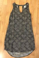 Old Navy Women's Sleeveless Shift Dress Size XS V-neck Keyhole Black White