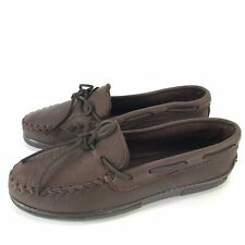 Minnetonka Men's Moosehide Chocolate Classic Moccasin Size 10 NEW