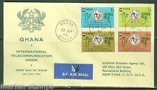 GHANA CENTENARY OF THE INT'L TELECOMMUNICATION UNION SET FIRST DAY COVER