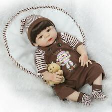 23'' Handmade Lifelike Reborn Boy Doll Full Body Vinyl Silicone Baby w/ Clothes