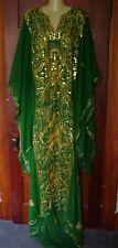 Belly dance costume Khaleeji thobe nashal, green & gold, EUC!