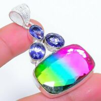 "Bi-Color Tourmaline, Tanzanite Ethnic Jewelryr Jewelry Pendant 2.1"" AK-3271"