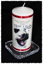 40th PUG Dog Birthday candle personalised gift  40 #6