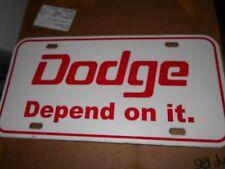 1960's 1970's DODGE MONACO POLARA CORONET DODGE DEPEND ON IT LOGO LICENSE PLATE
