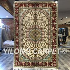 Yilong 4'x6' Handknotted Silk Persian Carpet Furniture Medallion Area Rug ZW233C