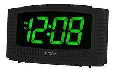 Acctim Vian Black Alarm Clock 3cm Green LED Display Mains Powered Battery Backup