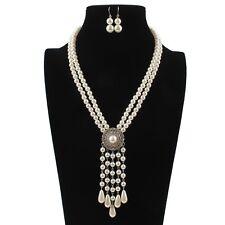 Women Elegant Pearl Crystal Tassel Pendant Long Chain Charm Sweater Necklace