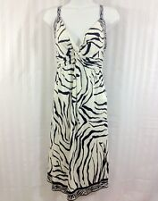 Elie Tahari Large L Navy Blue Ivory Zebra Tiger Empire Waist Silk Jersey Dress