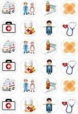 24 Ambulance Doctor Nurse Medical Cupcake Cake Toppers Edible Rice Wafer Paper