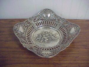 """Antique Pierced Rim Repousse Putti Motif Continental 800 Silver Bowl 10.25"""""""