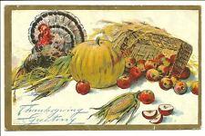Thanksgiving Greeting Turkey Pumpkin Produce Corn 1908