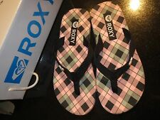 Brand New Roxy Pink Black Plaid Beach Slippers Flip Flop Thong