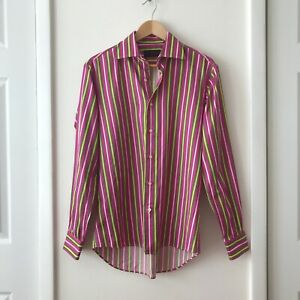 Etro Milano Men's Size 40 (US M) Pink Striped Buttoned Front Dress Shirt ITALY