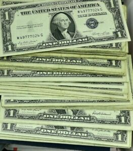1957  $1 SILVER CERTIFICATE IN CIRCULATED CONDITION EACH LOT IS FOR 1 NOTE