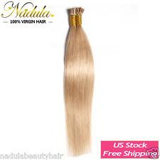 100 Strands I Tip Hair Nadula Pre-Bonded Keratin Glue Remy Human Hair 0.5g/s 7a