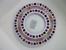 GLASS MOSAIC CANDLE PLATE / HOLDER - PURPLE - 16CM