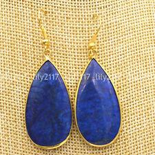 Beautiful Natural Blue lapis lazuli Gemstone 18K Gold plated Hook Dangle Earring