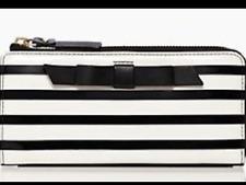 NWT KATE SPADE Nisha Chelsea Park Patent Stripe Leather Wallet Black/Cream