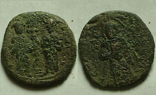 Rare ORIGINAL ancient BYZANTINE coin Constantine Eudocia Follis 1059 AD Christ +