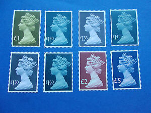 1977-87 Parcel High Values Complete Set of 8 (£1 to £5) SG 1026-28 Cat £60 M/N/H