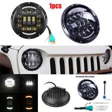 7 INCH H4/ H13 LED Headlight Hi/ Lo Beam Amber & White For Harley Jeep Wrangler