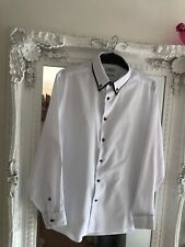 Mens White Double Collared Shirt 17""