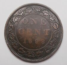 1898H Large Cent VG * SCARCE Date LOW Mintage KEY Queen Victoria Canada Penny