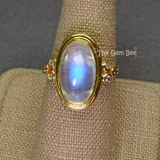 9.55CT 18k Solid Yellow Gold Fine Blue Flash Moonstone Diamond Ring Size 7