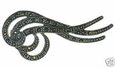 Swirled Wave Pin Brooch ' Solid 925 Sterling Silver Marcasite