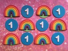 *** Edible Rainbow & Number Cake Toppers BIRTHDAY CUPCAKES DECORATIONS ***