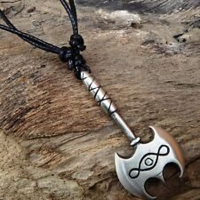 Celtic AX AXE Knot Dagger Norse Rune Pewter Pendant with Cotton Necklace #258