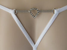 White Daniel Axel String Thong White Metal and Clear Heart Shape Diamantes M L