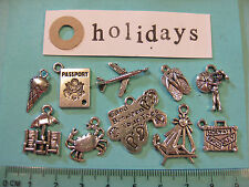 10 tibetan silver holiday charms passport plane suitcase sunbed crab icecream
