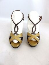 FENDI Gold and Gray Strappy Lizard Texture Sandal Heel Sz 5.5 WORN ONCE