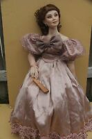"""AMY BURGESS DOLL ANNA 26"""" KING AND I 1290 PORCELAIN W/STAND PREMIERE ARTIST"""