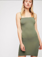 NEW Free People Intimately Square Neck Slip Dress in Army Sz XS/S-M/L $39.73
